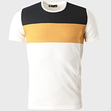 Classic Series - Tee Shirt 2207 Blanc Jaune Bleu Marine