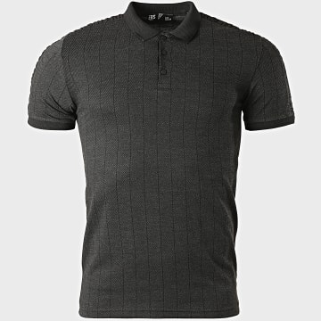 Classic Series - Polo Manches Courtes A Rayures 2131 Gris Anthracite Chiné