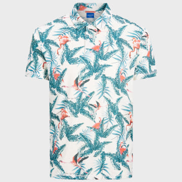 Jack And Jones - Polo Manches Courtes Virgil 12171698 Floral Blanc