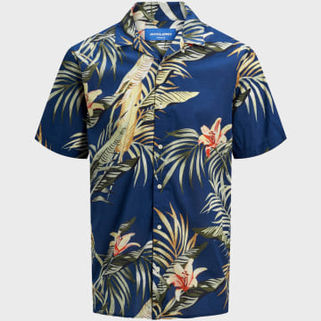 Jack And Jones - Chemise Manches Courtes Marty 12170478 Floral Bleu Marine