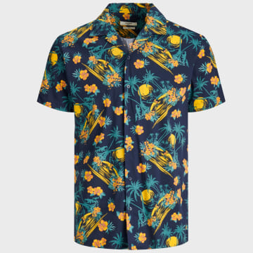 Jack And Jones - Chemise Manches Courtes Holiday Resort 12170678 Bleu Marine