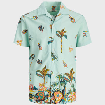 Jack And Jones - Chemise Manches Courtes Holiday Resort 12170678 Vert Clair