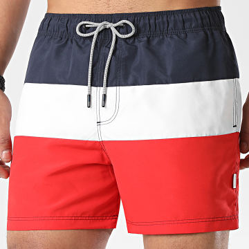 Jack And Jones - Short De Bain Tricolore Aruba Bleu Marine Blanc Rouge