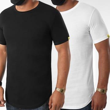 LBO - Lot de 2 Tee Shirts Oversize For The Planet 1183 Noir Blanc