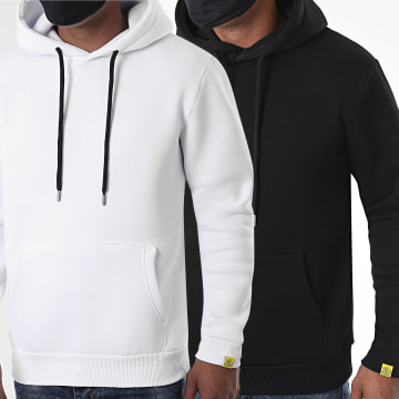 LBO - Lot De 2 Sweats Capuche For The Planet 1190 Noir Blanc