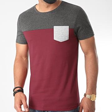 LBO - Tee Shirt Poche 1150 Gris Anthracite Bordeaux