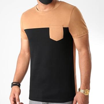 LBO - Tee Shirt Poche 1157 Noir Camel