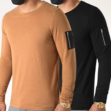 LBO - Lot de 2 Tee Shirts Manches Longues Bomber 1175 Noir Et Camel