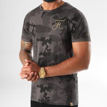 Final Club - Tee Shirt Camo Avec Broderie Or 395 Noir