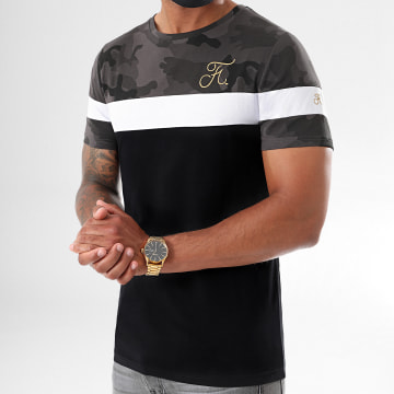 Final Club - Tee Shirt Tricolore Camo Avec Broderie Or 396 Noir