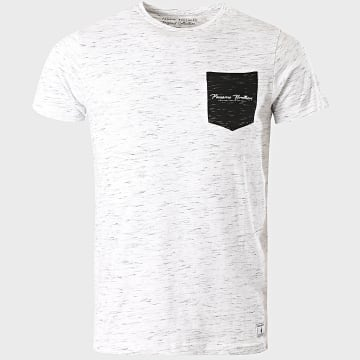 Paname Brothers - Tee Shirt Poche Tube Gris Clair Chiné