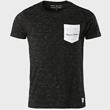 Paname Brothers - Tee Shirt Poche Tube Noir Chiné