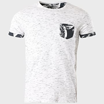 Paname Brothers - Tee Shirt Poche Floral Touba Blanc Chiné
