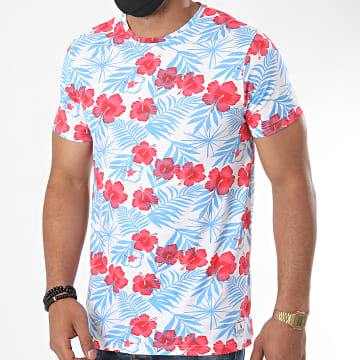 Paname Brothers - Tee Shirt Floral Tazia Blanc Bleu Rouge