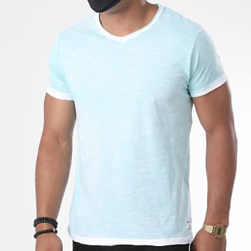 Paname Brothers - Tee Shirt Col V Toto-A Bleu Turquoise Chiné