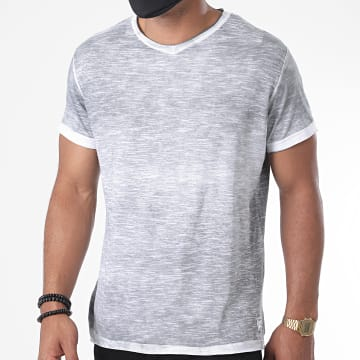 Paname Brothers - Tee Shirt Col V Toto-A Gris Chiné