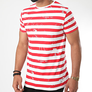 Paname Brothers - Tee Shirt A Rayures Turny Blanc Rouge
