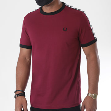 Fred Perry - Tee Shirt A Bandes Taped Ringer M6347 Bordeaux