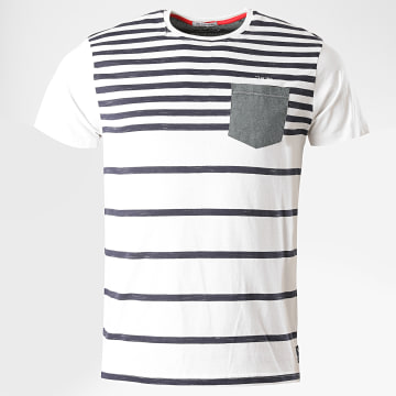 MZ72 - Tee Shirt Poche A Rayures Trendset Blanc