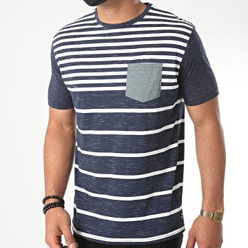 MZ72 - Tee Shirt Poche A Rayures Trendset Bleu Marine Chiné
