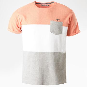 MZ72 - Tee Shirt Poche Tomtown Gris Chiné Blanc Corail