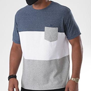 MZ72 - Tee Shirt Poche Tomtown Gris Chiné Blanc Bleu