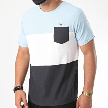 MZ72 - Tee Shirt Poche Tomtown Bleu Marine Blanc Bleu Ciel