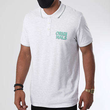 Jack And Jones - Polo Manches Courtes Venice Beach Organic 12171749 Gris Clair Chiné