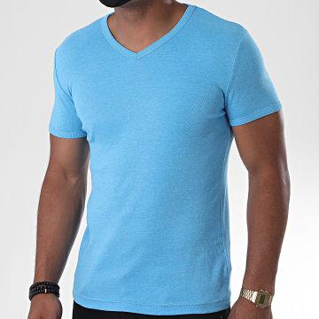La Maison Blaggio - Tee Shirt Col V Land Bleu Clair Chiné