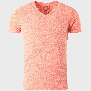 La Maison Blaggio - Tee Shirt Col V Land Orange Chiné