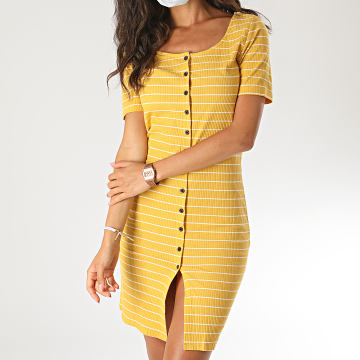 Only - Robe Femme Nevada Jaune Moutarde