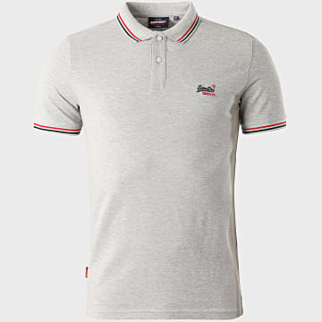 Superdry - Polo Manches Courtes Classic Micro Lite Tipped M1110012A Gris Chiné