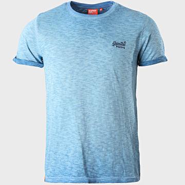 Superdry - Tee Shirt OL Low Roller M1010025A Bleu Clair Chiné