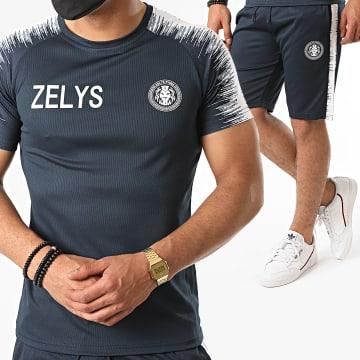 Zelys Paris - Ensemble Short Tee Shirt A Bandes Nueve Bleu Marine Blanc