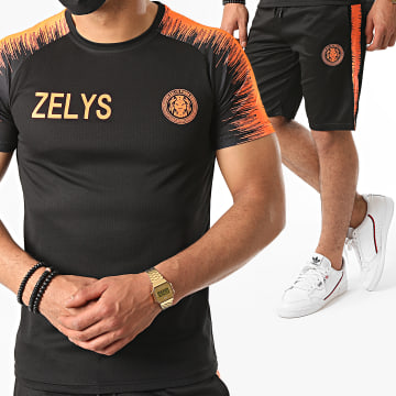 Zelys Paris - Ensemble Short Tee Shirt A Bandes Nueve Noir Orange Fluo