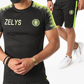 Zelys Paris - Ensemble Short Tee Shirt A Bandes Nueve Noir Jaune Fluo
