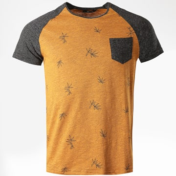 Armita - Tee Shirt Poche Floral TJ831 Moutarde Chiné Gris Anthracite