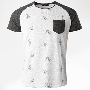 Armita - Tee Shirt Poche Floral TJ831 Blanc Chiné Gris Anthracite