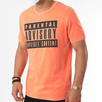 Parental Advisory - Tee Shirt Logo Orange Fluo
