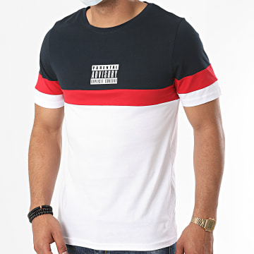 Parental Advisory - Tee Shirt Logo Tricolore Blanc Bleu Marine