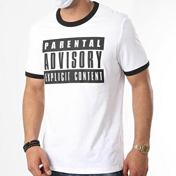 Parental Advisory - Tee Shirt Ringer Logo Blanc Noir