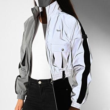 Project X - Veste Zippée Femme Crop Réfléchissante A Bandes F193070 Gris