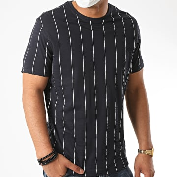 Brave Soul - Tee Shirt A Rayures 149 Stobart Bleu Marine