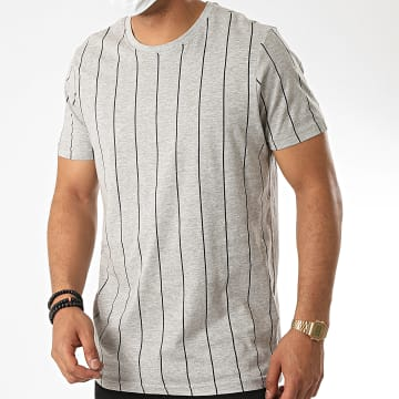 Brave Soul - Tee Shirt A Rayures 149 Stobart Gris Chiné