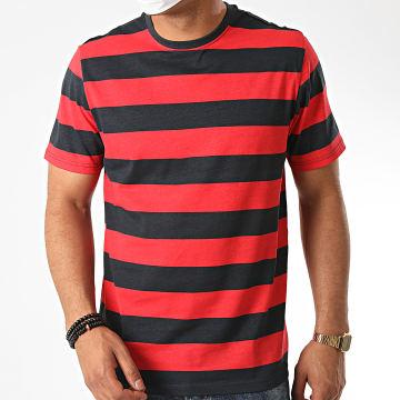 Brave Soul - Tee Shirt A Rayures 69 Lumming Rouge Bleu Marine