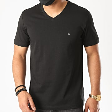 Calvin Klein - Tee Shirt Col V Logo Embroidery 3672 Noir