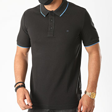 Calvin Klein - Polo Manches Courtes Stretch Tipping Slim 4915 Noir