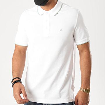 Calvin Klein - Polo Manches Courtes Stretch Tipping Slim 4915 Blanc
