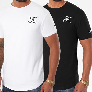 Final Club - Lot de 2 Tee Shirts Oversize Premium Fit Avec Broderie 472 Noir Blanc