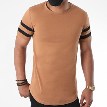 LBO - Tee Shirt Oversize Avec Bandes Noir 1170 Camel